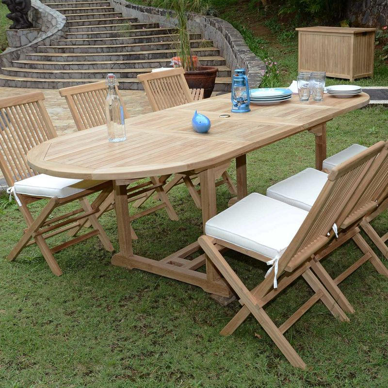 Salon de jardin en teck Ecograde Tanao, table extensible ...