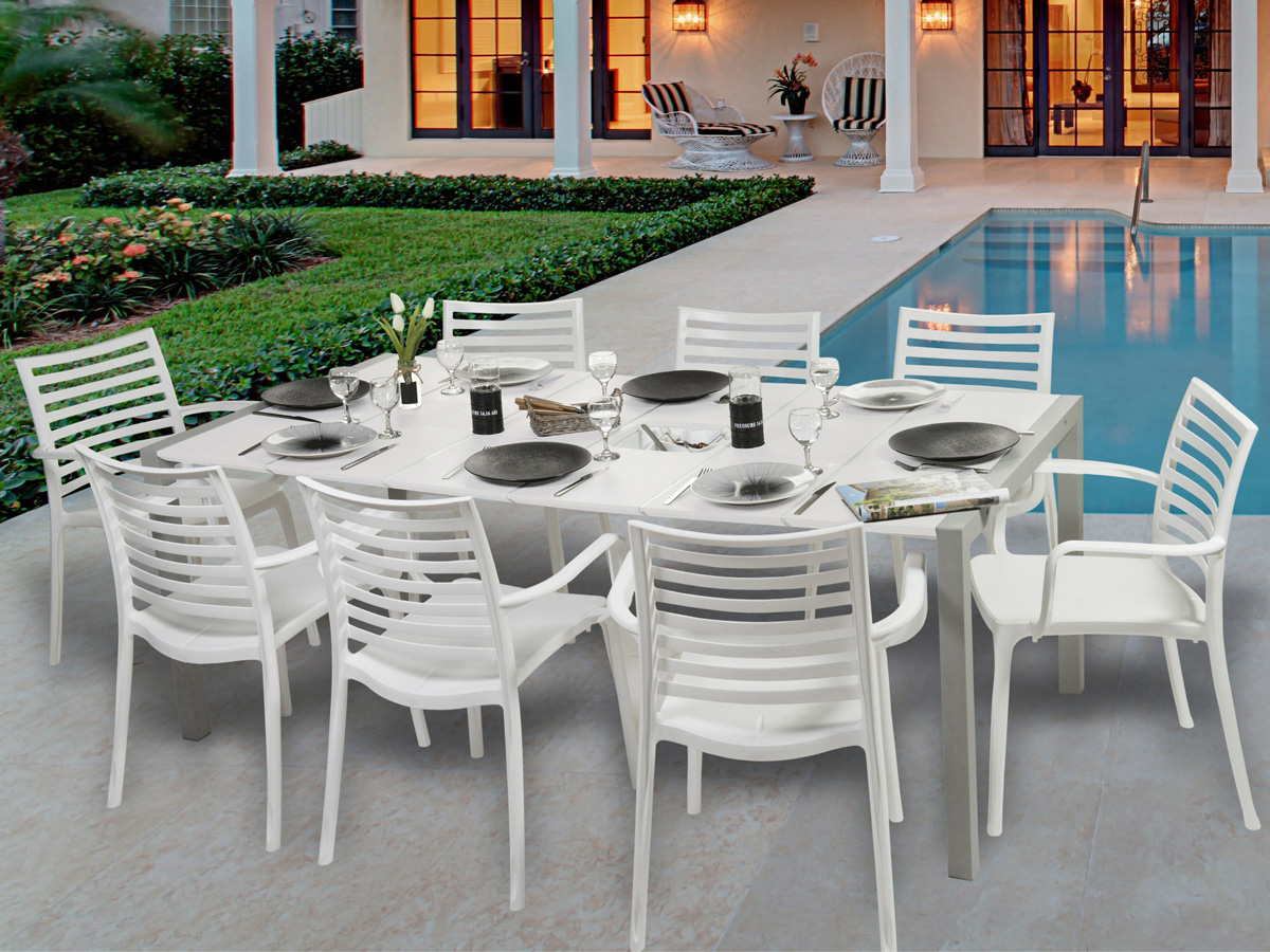 Salon de jardin Sunday - 1 table blanc glacier + 8 fauteuils blancs ...