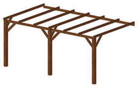 Carport DOUALA 15 m² adossable poteau 140 mm