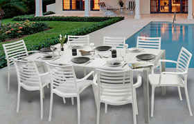 Salon de jardin Sunday - 1 table blanc glacier + 8 fauteuils blancs