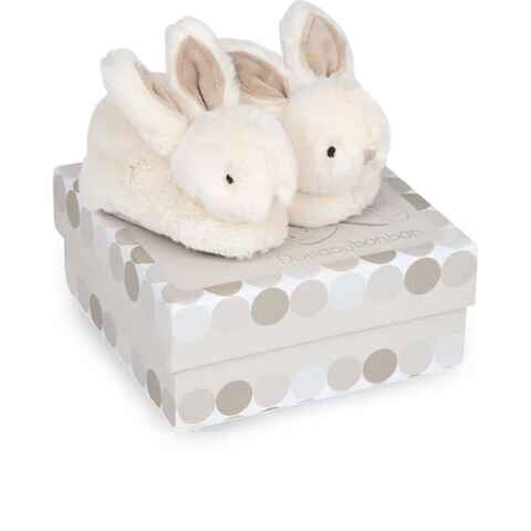Chaussons lapin bonbon taupe 0-6 mois