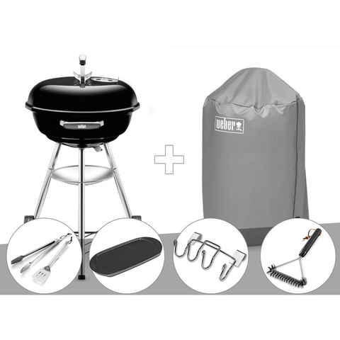 Barbecue Weber Compact Kettle 47 cm + Housse + Kit Ustensile + Plancha + Support Accessoires + Brosse