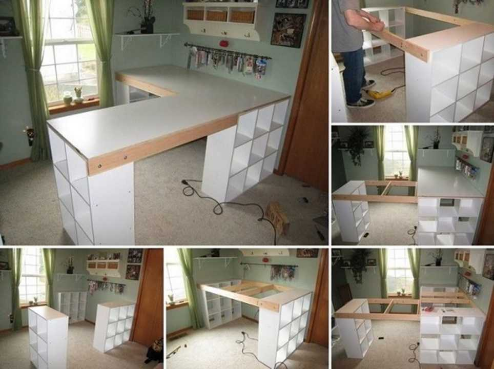 diy cr er un plan de travail ou un bureau avec des armoires cases. Black Bedroom Furniture Sets. Home Design Ideas